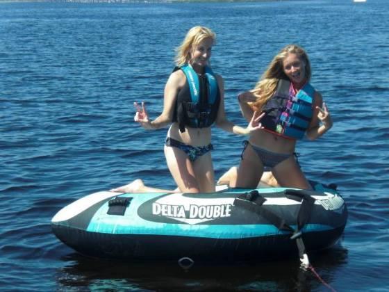 Kristen and I having fun tubing