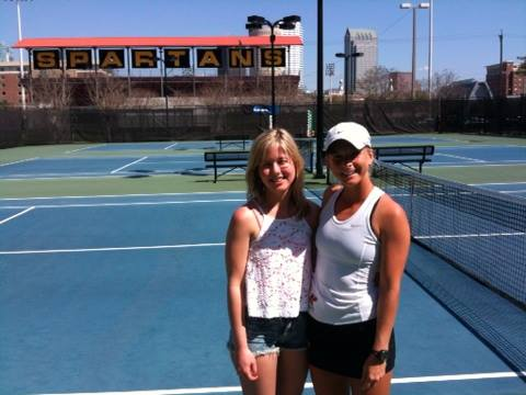 Lauren and I at my college tennis match